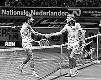 1978,Netherlands,ABN tennis Tournament, Rotterdam, Louk Sanders (NED) shakes the hand of Bjorn Borg (SWE)