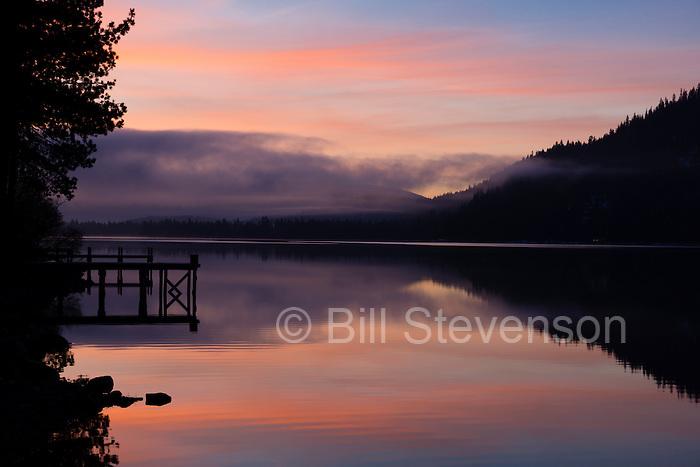 An image of fog at sunrise on Donner Lake near Truckee, California