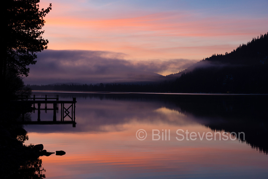 An image of fog at sunrise on Donner Lake near Truckee, California