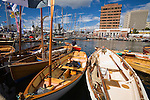 Wooden boats at Constitution Dock, during the bi-annual Wooden Boat Festival.    Sullivans Cove, Hobart, Tasmania, AUSTRALIA