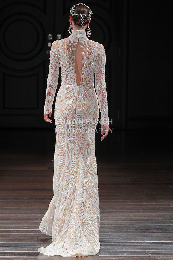 Model walks runway in a Luxor bridal gown from the Naeem Khan Bridal Spring 2017 collection at 260 West 36 Street, during New York Bridal Fashion Week Spring Summer 2017 on April 16, 2016.