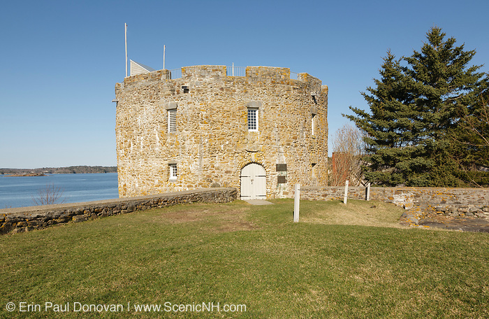 Fort William Henry in New Harbor, Maine USA during the spring months. Located on the coast of Maine, this fort was built of stone in 1692.