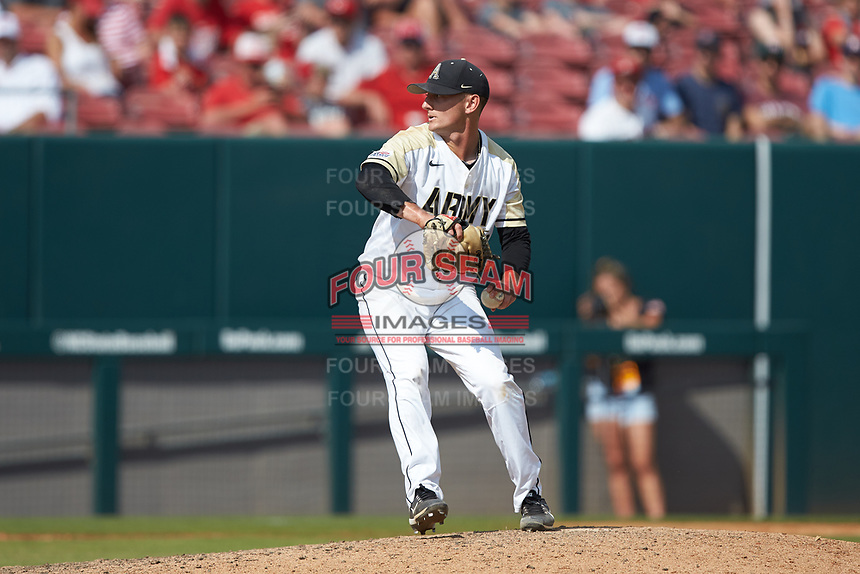 Army Black Knights starting pitcher Cam Opp (19) in action against the North Carolina State Wolfpack at Doak Field at Dail Park on June 3, 2018 in Raleigh, North Carolina. The Wolfpack defeated the Black Knights 11-1. (Brian Westerholt/Four Seam Images)