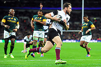 Luke Morahan of the Barbarians runs in a try. Killik Cup International match, between the Barbarians and South Africa on November 5, 2016 at Wembley Stadium in London, England. Photo by: Patrick Khachfe / JMP