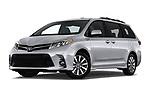 Stock pictures of low aggressive front three quarter view of a 2018 Toyota Sienna Limited FWD 5 Door Mini Van