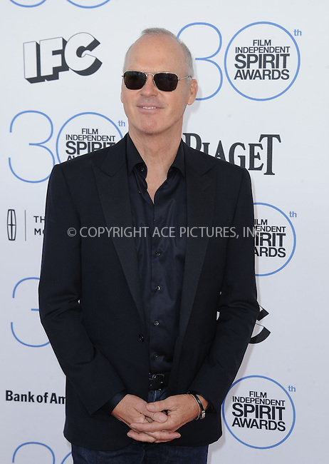 WWW.ACEPIXS.COM<br /> <br /> February 21 2015, LA<br /> <br /> Michael Keaton arriving at the 2015 Film Independent Spirit Awards at Santa Monica Beach on February 21, 2015 in Santa Monica, California.<br /> <br /> By Line: Peter West/ACE Pictures<br /> <br /> <br /> ACE Pictures, Inc.<br /> tel: 646 769 0430<br /> Email: info@acepixs.com<br /> www.acepixs.com