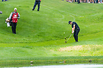 CROMWELL, CT. 20 June 2019-062019 - PGA Tour player Patrick Cantlay hits his third shot on the par 3 eighth hole after hitting his tee shot in the water, during the first round of the Travelers Championship at TPC River Highlands in Cromwell on Thursday. Bill Shettle Republican-American