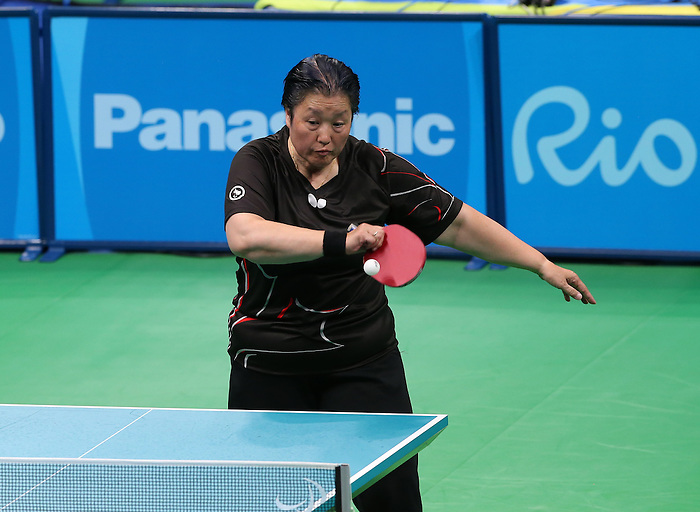Rio de Janeiro-13/9/2016- Stephanie Chan competes in the women's table tennis bronze medal game during the 2016 Paralympic Games in Rio. Photo Scott Grant/Canadian Paralympic Committee