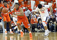 Clemson guard Jordan Roper (20) steals the ball from Virginia guard London Perrantes (32) during an ACC basketball game Tuesday Jan. 19, 2016, in Charlottesville, Va. (Photo/Andrew Shurtleff)