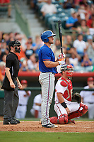St. Lucie Mets left fielder Tim Tebow (15) at bat in the top of the sixth inning during a game against the Florida Fire Frogs on July 23, 2017 at Osceola County Stadium in Kissimmee, Florida.  Umpire Tyler Jones and catcher Tanner Murphy look to the pitcher.  St. Lucie defeated Florida 3-2.  (Mike Janes/Four Seam Images)