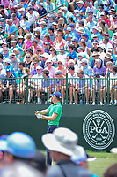 Justin Thomas (USA) watches his tee shot 1 on during Friday's round 2 of the PGA Championship at the Quail Hollow Club in Charlotte, North Carolina. 8/11/2017.<br /> Picture: Golffile | Ken Murray<br /> <br /> <br /> All photo usage must carry mandatory copyright credit (&copy; Golffile | Ken Murray)