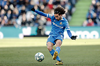 26th January 2020; Coliseum Alfonso Perez, Madrid, Spain; La Liga Football, Club Getafe Club de Futbol versus Real Betis; Marc Cucurella (Getafe CF) crosses into the Betis penalty area