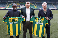 2nd January 2020, The Hague, Holland;  ADO Den Haag assistant coach Chris Powell, ADO Den Haag Managing Director Mohammed Hamdi and ADO Den Haag new coach Alan Pardew on the pitch during the presentation