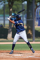 Milwaukee Brewers Sthervin Matos (14) during an instructional league game against the Los Angeles Dodgers on October 13, 2015 at Cameblack Ranch in Glendale, Arizona.  (Mike Janes/Four Seam Images)