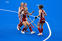 2nd February 2020; Sydney Olympic Park, Sydney, New South Wales, Australia; Womens International FIH Field Hockey, Australia versus Great Britain Women; Anna Toman of Great Britain is congratulated by teammates after scoring to make it 1-0