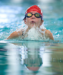 Willow Creek's Savanna Greer competes in the 50 yard breast race during the 53rd annual Country Club Swimming Championships on Monday, Aug. 6, 2012, in Kearns, Utah. (© 2012 Douglas C. Pizac)