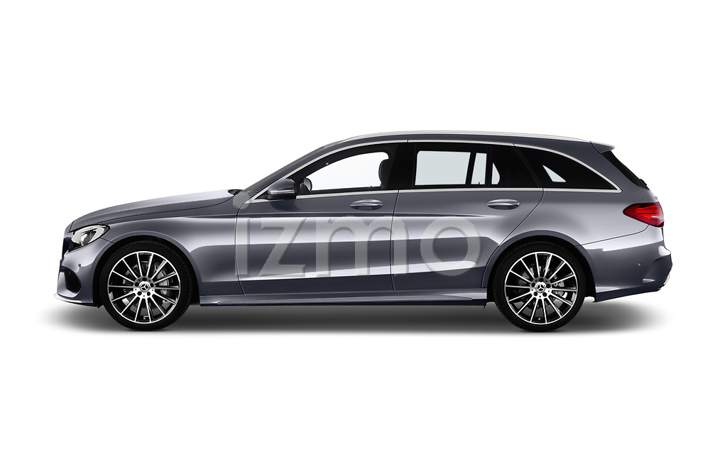 Car driver side profile view of a 2018 Mercedes Benz C Class AMG Line 5 Door Wagon