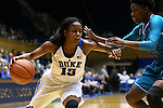 31 December 2015: Duke's Kyra Lambert (15) and UNCW's Shatia Cole (5). The Duke University Blue Devils hosted the University of North Carolina Wilmington Seahawks at Cameron Indoor Stadium in Durham, North Carolina in a 2015-16 NCAA Division I Women's Basketball game. Duke won the game 78-56.