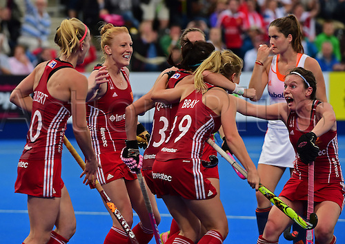 30.08.2015. Lea Valley, London, England. Unibet EuroHockey Championships Day 10. Gold Medal Final. England versus Netherlands. England celebrate their equaliser in the final