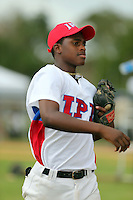 Elehuris Montero participates in the International Prospect League Showcase at the New York Yankees academy in Boca Chica, Dominican Republic on January 24, 2014 (Bill Mitchell)