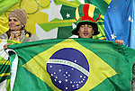 15 JUN 2010:  Brazil fan with the national flag in the stands.  The Brazil National Team played the North Korea National Team at Ellis Park Stadium in Johannesburg, South Africa in a 2010 FIFA World Cup Group G match.