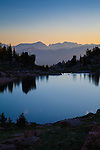 Mountain lakes after sunset on a clear day in the beartooth wilderness in montana