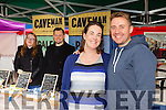 Enjoying Tralee Food Festival in the town Square on Saturday  were, Andrea Lyons, Tommy Lyons, with Rosalynd Hayes and Niall Harty of the Caveman Food Company