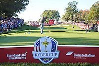 Rory McIlroy (Team Europe) on the 8th tee during the Saturday morning Foursomes at the Ryder Cup, Hazeltine national Golf Club, Chaska, Minnesota, USA.  01/10/2016<br /> Picture: Golffile | Fran Caffrey<br /> <br /> <br /> All photo usage must carry mandatory copyright credit (&copy; Golffile | Fran Caffrey)