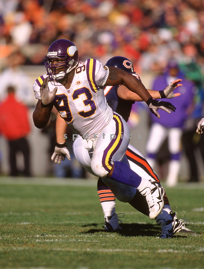 Minnesota Vikings John Randle (93) during a game from his 1993 season. John Randle played for 14 seasons with 2 different team and was a 7-time Pro Bowler and was inducted into the Pro Football Hall of Fame in 2010.(SportPics)