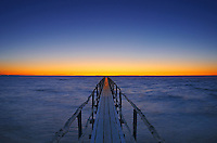 Pier on Lake Winnipeg at dawn<br />