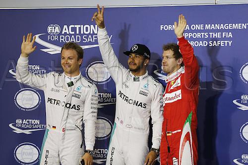 02.04.2016. Sakhir, Bahrain. F1 Grand Prix of Bahrain, qualification Saturday.  Pole winners, shows 6 Nico Rosberg (GER, Mercedes AMG Petronas Formula One Team), 44 Lewis Hamilton (GBR, Mercedes AMG Petronas Formula One Team), 5 Sebastian Vettel (GER, Scuderia Ferrari)
