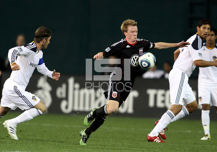 of D.C. United of the Los Angeles Galaxy during an MLS match at RFK Stadium, on April 9 2011, in Washington D.C.The game ended in a 1-1 tie.