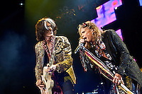 Joe Perry and Steven Tyler of Aerosmith in concert at The Palace Of Auburn Hills in Auburn Hills, Michigan. July 5, 2012. Credit: MediaPunch Inc. *NORTEPHOTO.COM*<br />