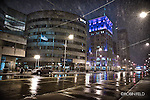 Cold wet and snowy night on Main Street. Downtown Dayton OHio