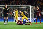 UEFA Champions League 2013/2014.<br /> Quarter-finals 1st leg.<br /> FC Barcelona vs Club Atletico de Madrid: 1-1.<br /> Arda Turan vs Lionel Messi.