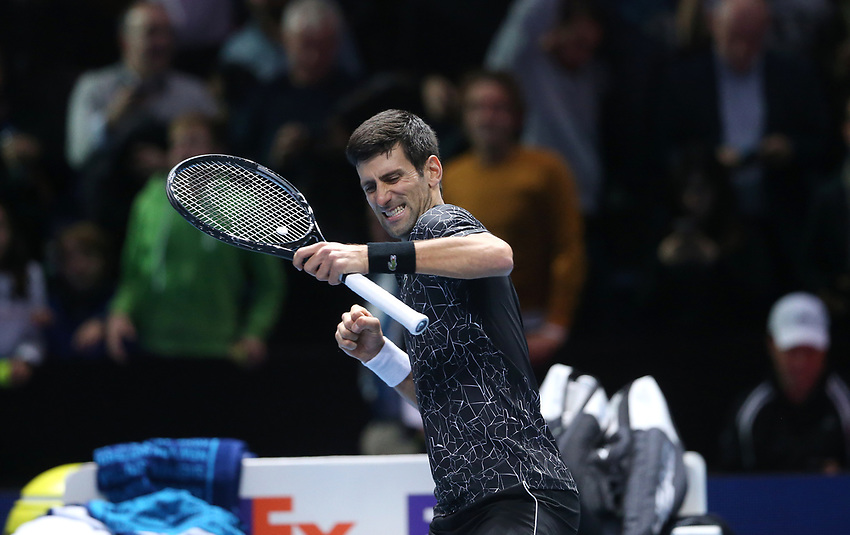 Novak Djokovic of Serbia celebrates after winning his singles round robin match against John Isner of The United States<br /> <br /> Photographer Rob Newell/CameraSport<br /> <br /> International Tennis - Nitto ATP World Tour Finals Day 2 - O2 Arena - London - Sunday 12th November 2018<br /> <br /> World Copyright © 2018 CameraSport. All rights reserved. 43 Linden Ave. Countesthorpe. Leicester. England. LE8 5PG - Tel: +44 (0) 116 277 4147 - admin@camerasport.com - www.camerasport.com