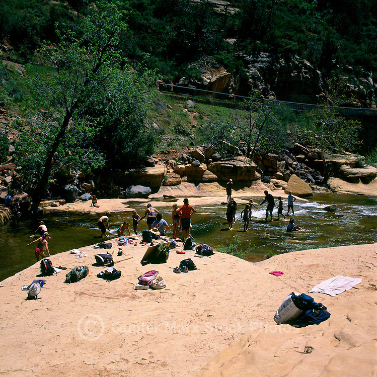Oak Creek Canyon near Sedona, Arizona, USA - People relaxing at Slide Rock, in Slide Rock State Park