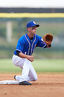 Biloxi Shuckers second baseman Nick Shaw (1) waits for a throw during a game against the Birmingham Barons on May 24, 2015 at Joe Davis Stadium in Huntsville, Alabama.  Birmingham defeated Biloxi 6-4 as the Shuckers are playing all games on the road, or neutral sites like their former home in Huntsville, until the teams new stadium is completed in early June.  (Mike Janes/Four Seam Images)