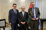 Palestinian Prime Minister Mohammad Ishtayeh meets with  Representative of the Foreign Affairs Committee of the German Parliamentary Group, Rodrik Kizuter, in the West Bank city of Ramallah, May 30, 2019. Photo by Prime Minister Office