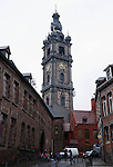 """Belgium, Mons - December 17, 2014 -- European Capital of Culture in 2015 (together with the Czech city of Pilsen) themed """"Where technology meets culture""""; here, the only Belgian baroque belfry, site of a grand light installation; all Belgian belfries are listed by UNESCO -- Photo © HorstWagner.eu"""