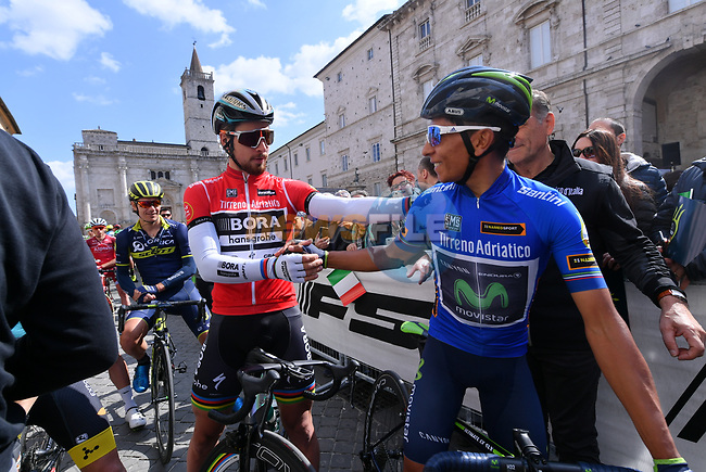 World Champion Peter Sagan (SVK) Bora-Hansgrohe Maglia Rossa and race leader Nairo Quintana (COL) Movistar Team Maglia Azzura wearer before the start of Stage 6 of the 2017 Tirreno Adriatico running 168km from Ascoli Piceno to Civitanova Marche, Italy. 13th March 2017.<br /> Picture: La Presse/Gian Mattia D'Alberto | Cyclefile<br /> <br /> <br /> All photos usage must carry mandatory copyright credit (&copy; Cyclefile | La Presse)