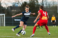 Sky Blue FC defender Caitlin Foord (4) is marked by Western New York Flash forward Samantha Kerr (4). Sky Blue FC defeated the Western New York Flash 1-0 during a National Women's Soccer League (NWSL) match at Yurcak Field in Piscataway, NJ, on April 14, 2013.