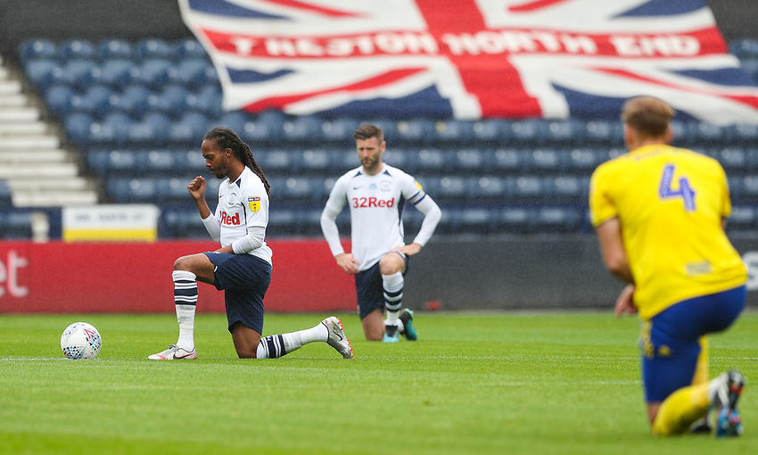 Preston North End's Daniel Johnson takes the knee in support of the Black Lives Matter movement<br /> <br /> Photographer Alex Dodd/CameraSport<br /> <br /> The EFL Sky Bet Championship - Leeds United v Barnsley - Thursday 16th July 2020 - Elland Road - Leeds<br /> <br /> World Copyright © 2020 CameraSport. All rights reserved. 43 Linden Ave. Countesthorpe. Leicester. England. LE8 5PG - Tel: +44 (0) 116 277 4147 - admin@camerasport.com - www.camerasport.com<br /> <br /> Photographer Alex Dodd/CameraSport<br /> <br /> The EFL Sky Bet Championship - Preston North End v Birmingham City - Saturday 18th July 2020 - Deepdale Stadium - Preston<br /> <br /> World Copyright © 2020 CameraSport. All rights reserved. 43 Linden Ave. Countesthorpe. Leicester. England. LE8 5PG - Tel: +44 (0) 116 277 4147 - admin@camerasport.com - www.camerasport.com