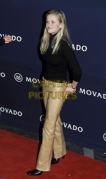 REESE WITHERSPOON.Ref:9476.sales@capitalpictures.com.www.capitalpictures.com.©Capital Pictures.tan leather trousers, black top