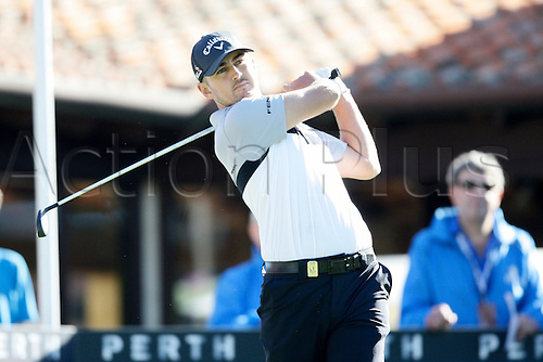25.02.2016. Perth, Australia. ISPS HANDA Perth International Golf. Max McCardle (AUS) hits his first shot for the tournament on tee 1 day 1.