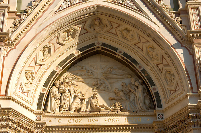Basilica Santa Croce - Detail of statues over door- Florence Italy.
