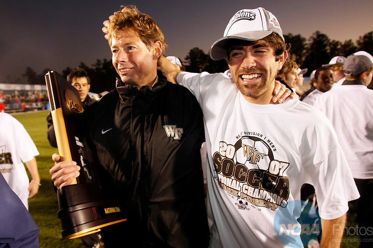 16 DEC 2007:  Wake Forest University Head Coach Jay Vidovich and Austin da Luz (6) celebrate the Demon Deacons' victory over Ohio State University during the Division I Men's Soccer Championship held at the SAS Soccer Park in Cary, NC.  Wake Forest defeated Ohio State 2-1 for the national title.  Jamie Schwaberow/NCAA Photos