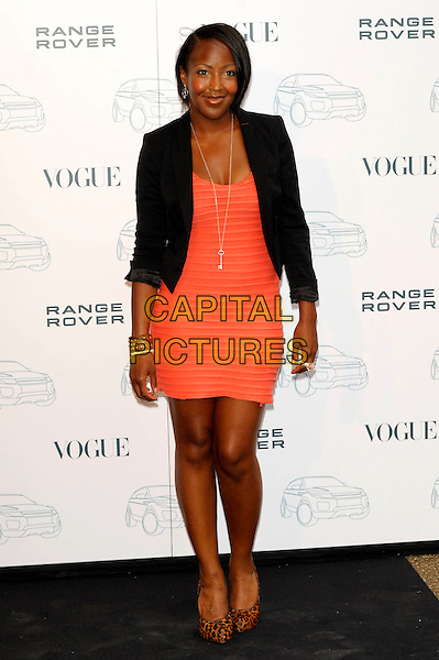 ANGELLICA BELL.Attends the Range Rover 40th Anniversary Party in association with Vogue at the Orangery, Kensington Palace, London, England, UK..July 1st 2010.length black blazer jacket orange coral ribbed dress red leopard print brown animal shoes  cuff leather studs studded bracelet  anjellica anjelica angelica.CAP/CJ.©Chris Joseph/Capital Pictures.
