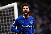 2nd February 2019, Goodison Park, Liverpool, England; EPL Premier League Football, Everton versus Wolverhampton Wanderers; Andre Gomes of Everton celebrates after he scores his side's first goal with a shot after 27 minutes to make the score 1-1