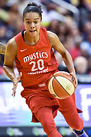 Washington, DC - August 17, 2018: Washington Mystics guard Kristi Toliver (20) drives to the basket during game between the Washington Mystics and Los Angeles Sparks at the Capital One Arena in Washington, DC. (Photo by Phil Peters/Media Images International)